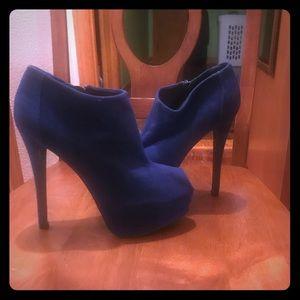 Blue suede peep toe heels with side zip